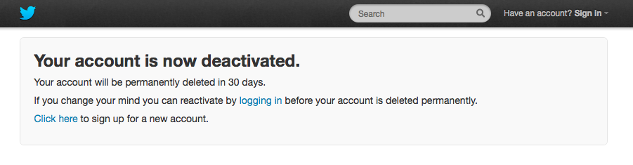 Twitter Deactivation Screenshot